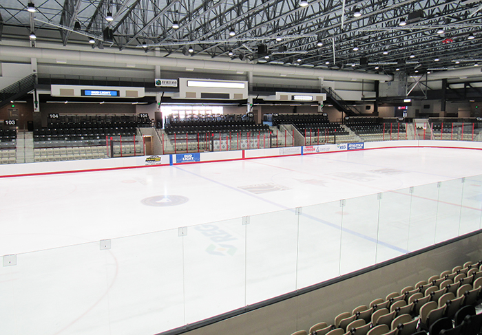 View of the ice rink at the Mason City Arena